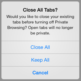 how to close in private browsing