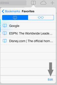 Remove Bookmark Safari iOS 7