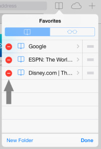 Remove Bookmark Safari iOS 7
