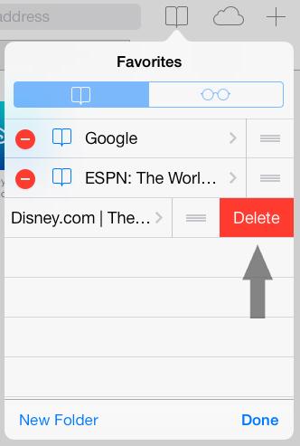 how to delete bookmarks on safari iphone ios 7